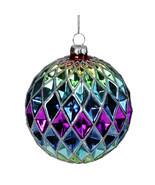 Rainbow Harlequin Designed Round Glass Christmas Ornament 3.5 (90mm) - tkcc - $29.95