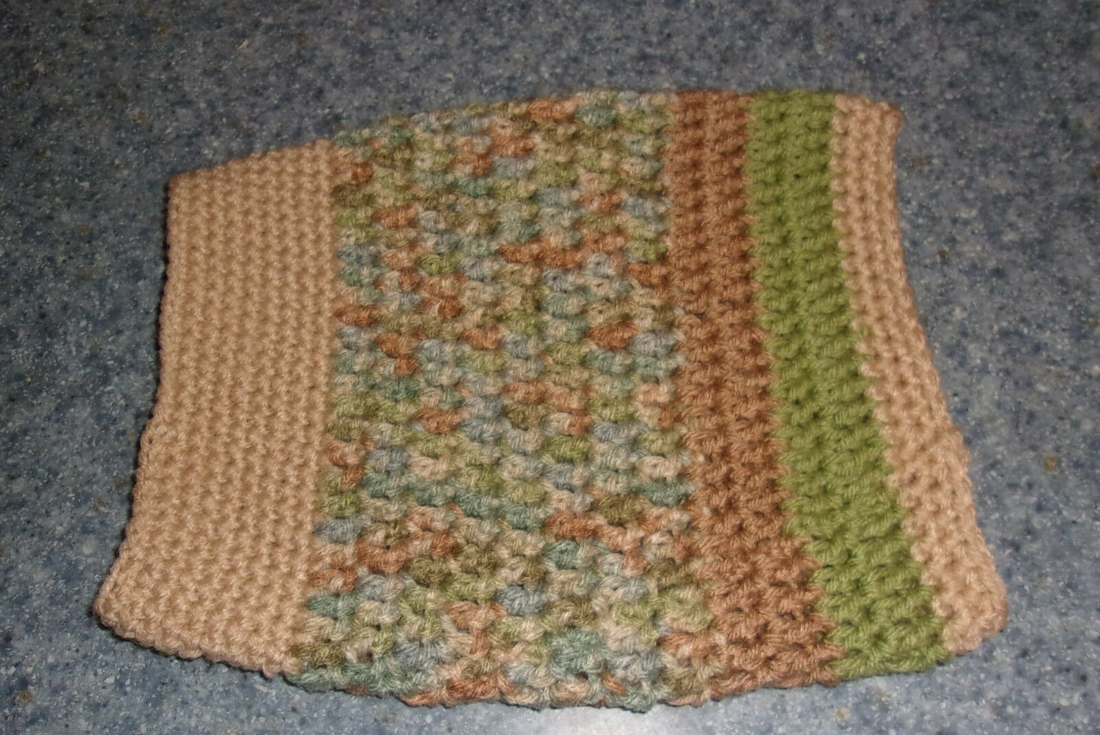 Brand New Hand Crocheted Tan Green Dog Snood Neck Warmer For Dog Rescue Charity