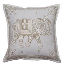 "16 "" Elefant Aari Zari Vintage Dekoratives Kissen / Kissenbezug Weiß - $8.88"