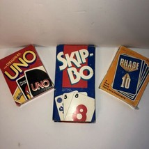Vintage Card Game Lot Uno 1992 Skip Bo 1993 Phase 10 1986 - $12.86