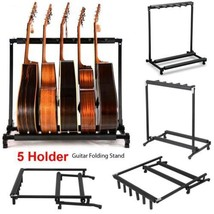 5 Way Multi Guitar Rack Padded Holder Stand Electric Acoustic Bass - $15.67
