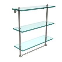 Allied Brass PR-5/16TB-SN 16 Inch Triple Tiered Glass Shelf with Integra... - $101.04