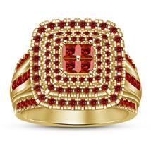 Princess Cut Red Garnet 14k Yellow Gold Plated 925 Silver Bridal Engagement Ring - $97.50