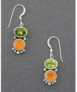 Navajo Peridot Citrine Earrings Sterling Silver Gemstones Dangles - $98.00