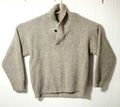 Eddie Bauer Men's M Brown Wool Shawl Neck Cable Knit Sweater Pullover Ca... - $24.57