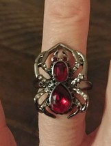 NEW Sparkling SPIDER Ring Red Stone Gun Metal Halloween Goth Avon w box size 6 image 2