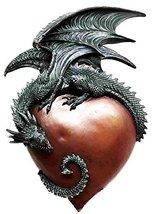 Legendary Gothic Spiral Brave Dragon Heart Wall Plaque Sculpture Figurine - $43.55