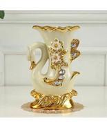Ceramic Golden Swan Vase Baroque Elephant Flowers Vases Dining Table Hom... - $46.49