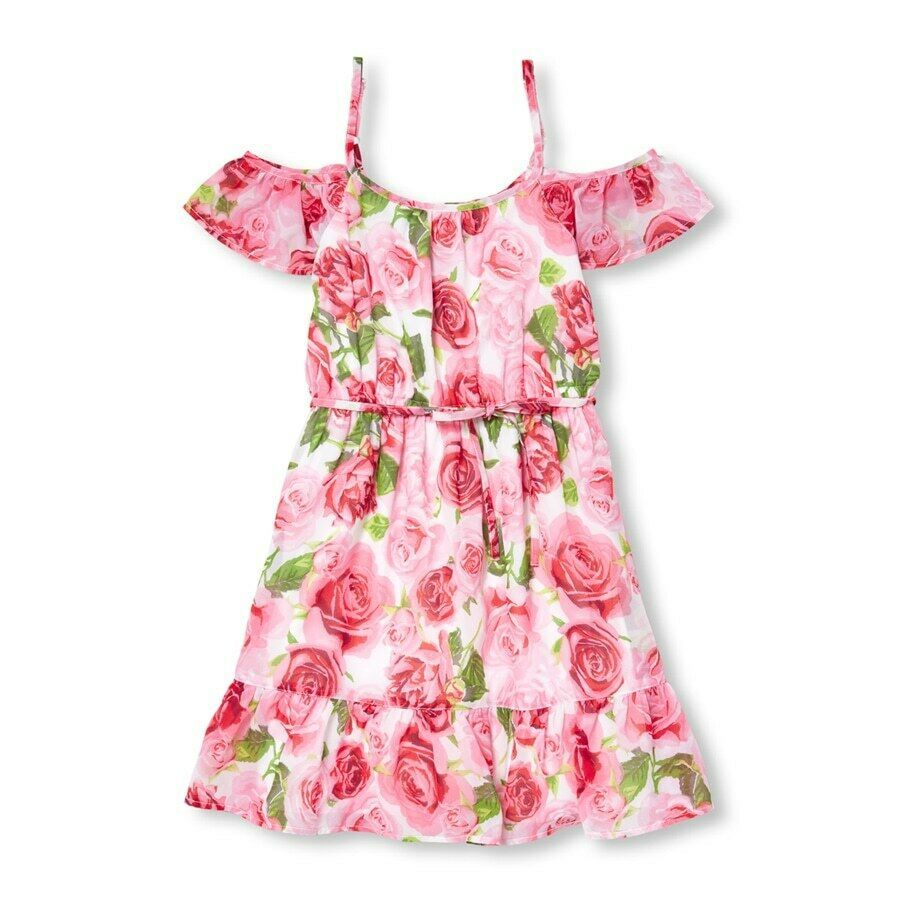 Primary image for NWT The Childrens Place Girls Floral Rose Print Pink Woven Off Shoulder Dress