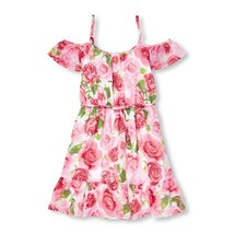 NWT The Childrens Place Girls Floral Rose Print Pink Woven Off Shoulder ... - $12.99