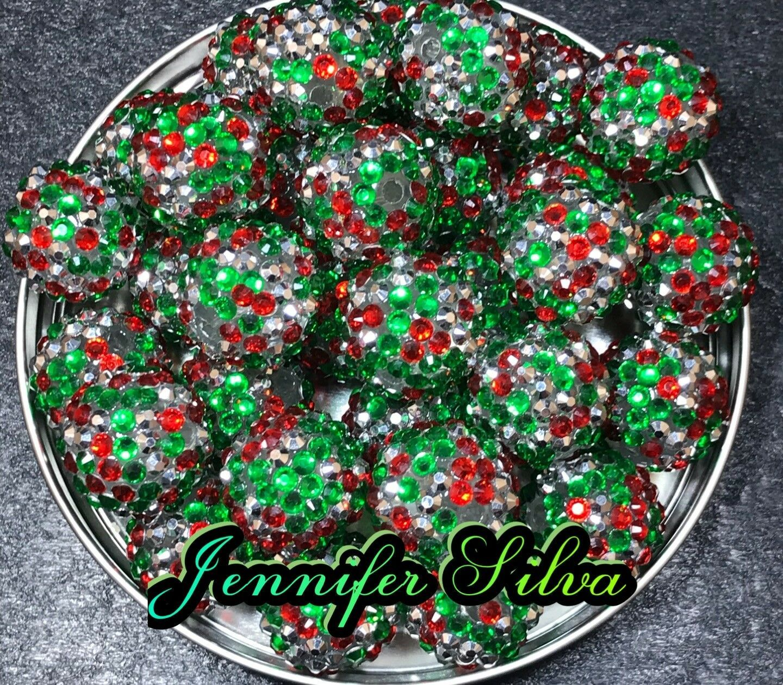 Christmas Rhinestone Chunky Bubblegum Beads 20mm