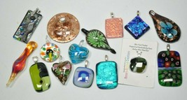 Lot of 15 Different Art Artisan Glass Pendants Foiled/Lampwork/Murano/Mi... - $58.19