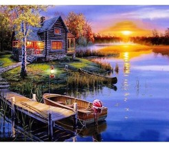 Paint By Numbers Kit Cottage Sunset 40CMx50CM Canvas - $12.77