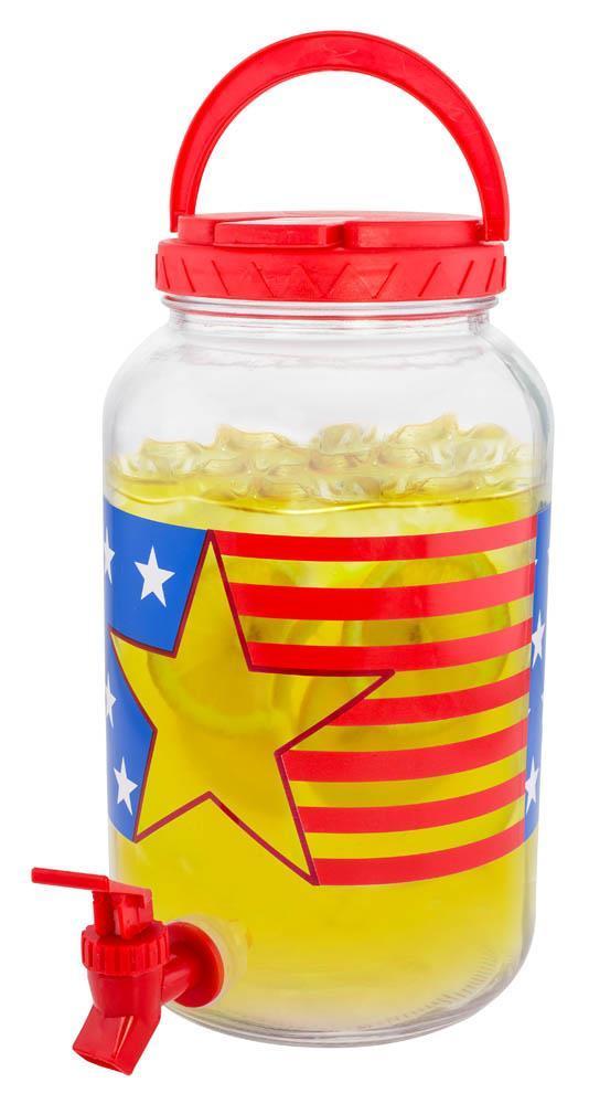 :10899B  Patriotic Flag 1 Gallon Glass Beverage Dispenser w/Spout