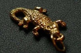 LOOK Gold Plated over real sterling silver Alligator Pendant Crocodile C... - $13.04