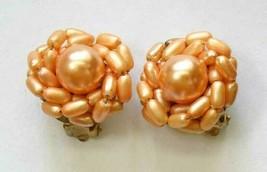 "Elegant Peach Faux Pearl Cluster Gold-tone Clip Earrings 1960s vintage 1"" - $12.30"