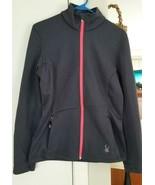 SPYDER Women's LARGE Core Cable Knit Sweater Jacket Full Zip Dark Gray W... - $35.00