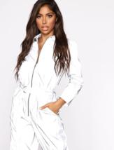 Weirdgirl women reflective autumn new jumpsuit zip-up belt pocket solid silver r