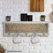 Shabby Chic Wall Mounted Rustic Coat Rack White Distressed Farmhouse Sty... - $98.16