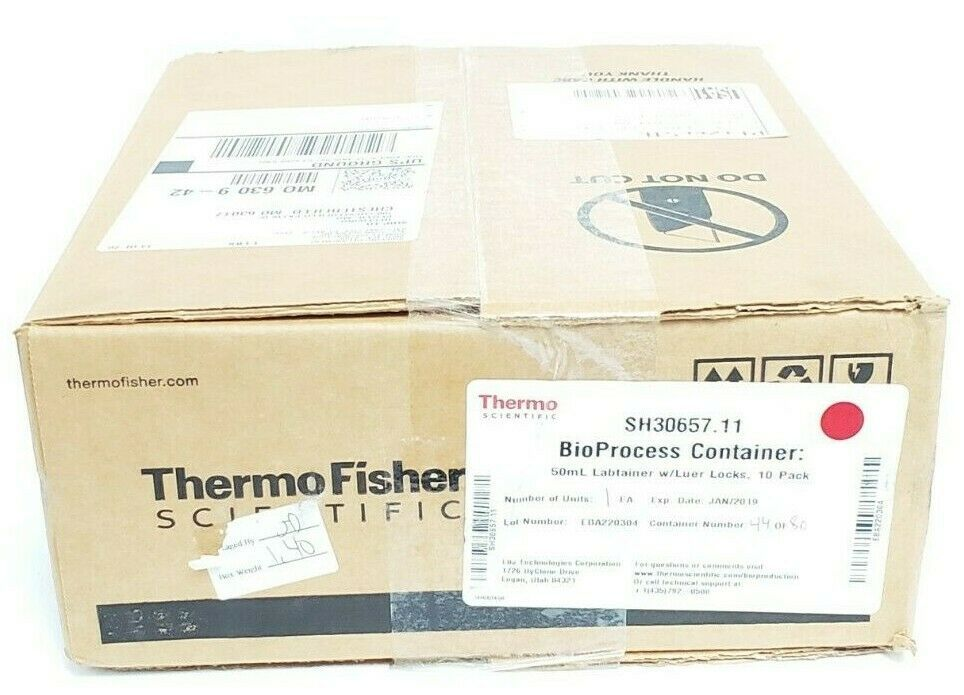 BOX OF 10 NEW THERMO FISHER SH30657-11 50mL LABTAINER W/ LUER LOCKS