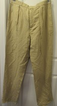 Polo Ralph Lauren Blue Label Men's Pleated Pants LINEN/SILK 36 Beige Solid New - $149.75