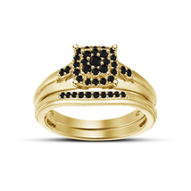 14K Yellow Gold Fn Solid Bridal Wedding Ring Set 1Ct Black Simulated Diamond  - $99.99