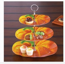 Fall 3 Tiered Serving Tray Pumpkin Server Stand Hostess Buffet Caddy 3 T... - $34.64