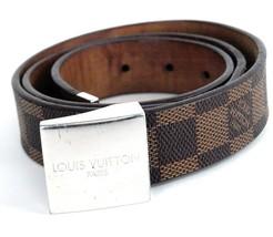 Auth Louis Vuitton Paris Brown Damier Canvas Leather Belt Size 32 / 81 cm - $356.40