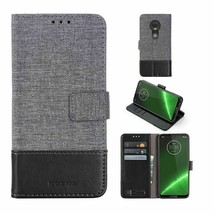 Canvas Leather Card Wallet Case Magnetic Flip For Motorola G7 POWER - $11.43