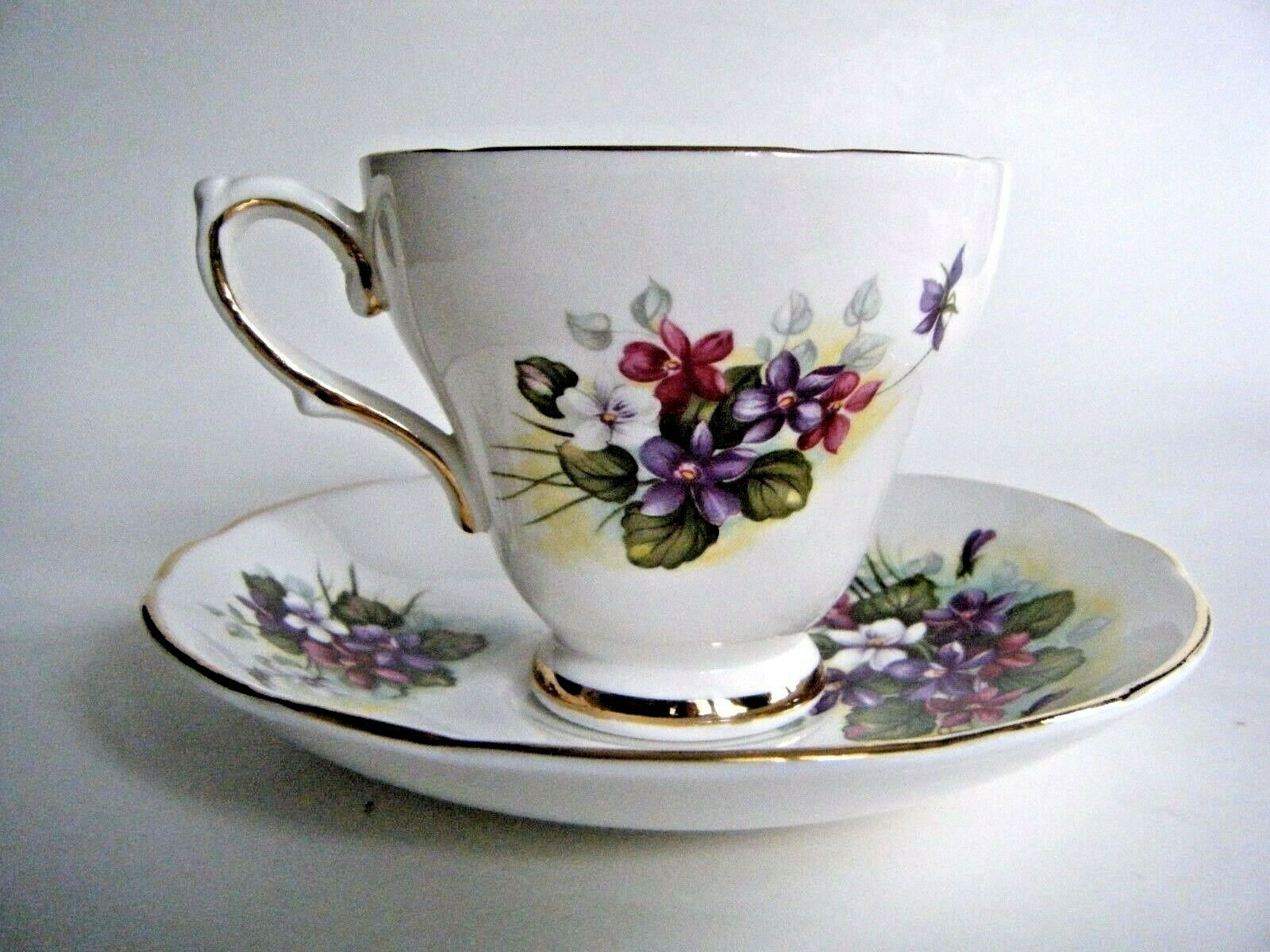Primary image for Royal Trent Fine Bone China Tea Cup & Saucer Violets Staffordshire England