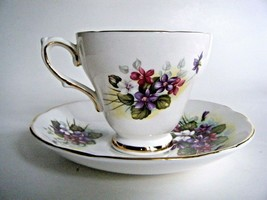 Royal Trent Fine Bone China Tea Cup & Saucer Violets Staffordshire England - $9.85