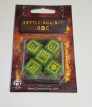 Q-Workshop: Five d6 Dice - ORC Battle Dice Green & Yellow - $10.51