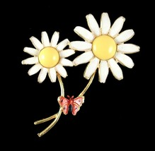WEISS 2 White DAISY Flowers PIN Vintage Enamel Brooch Red BUTTERFLY Yell... - $18.99