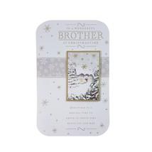to a Wonderful Brother PUEBLO Escena Tarjeta de Navidad 2d Apliques 23 x... - €8,52 EUR