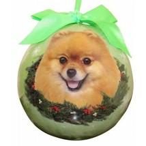 Pomeranian Christmas Ornament Dog Shatter Proof Ball Green Snowflakes New - $9.89