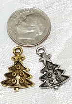 DECORATED CHRISTMAS TREE FINE PEWTER PENDANT CHARM - 12mm L x 18mm W x 3mm D image 2