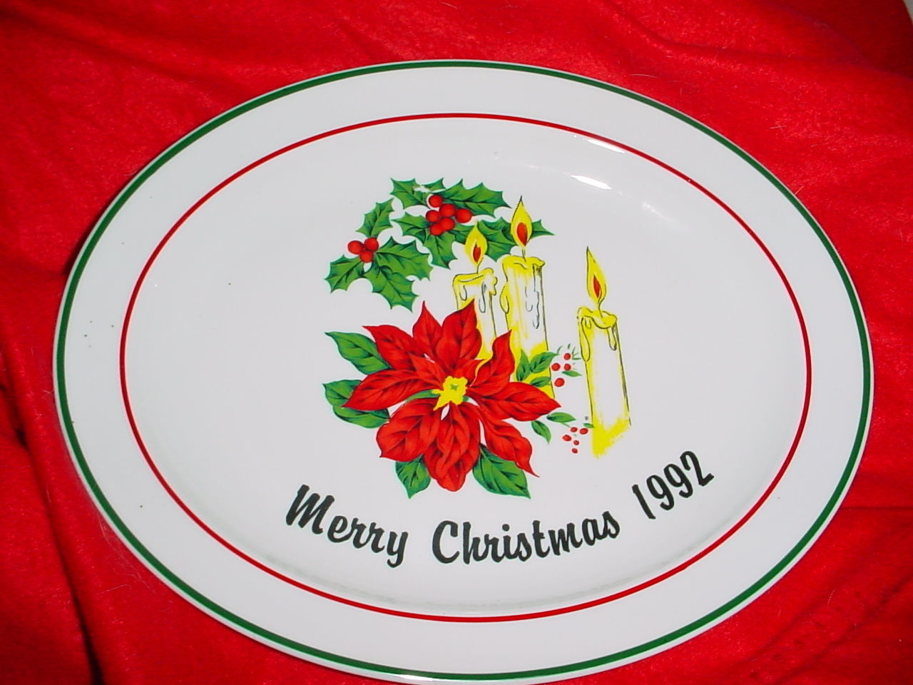 Primary image for CORNING PYROCERAM MERRY CHRISTMAS 1992 OVAL PLATTER VERY RARE FREE USA SHIPPING