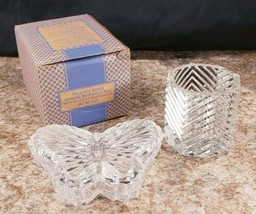 Avon Crystal Candle Holder Delicate Wings Butterfly Trinket Box No Candies  - $11.62
