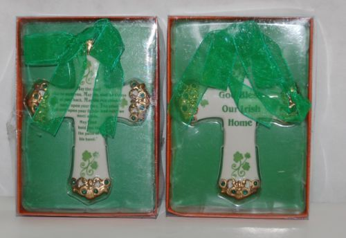 Kurt S Adler JO683 God Bless Our Irish Home May Road Rise Meet You Ornament Set