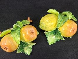 Vintage Arnalt Japan Wall Hung Fruit, Lemon and Pear, Ceramic Capodimonte Style image 1