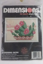 """1992 Dimensions No Count Cross Stitch Kit 7""""x 5"""" #6624 Flowering Cactus - $13.86"""