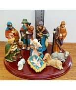 "Christmas Nativity Set 11 Pieces Porcelain Scott's 4"" Tall Wood Display ... - $8.42"