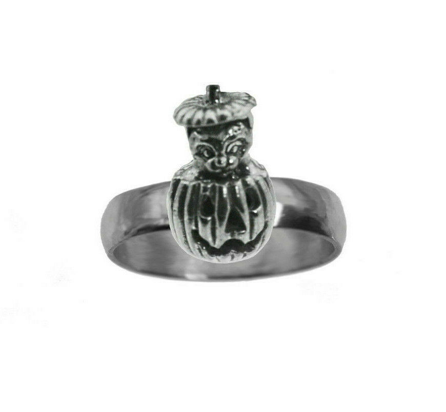 Primary image for Cat In Pumpkin jack o lantern Sterling Silver Ring Spooky Halloween Jewelry New