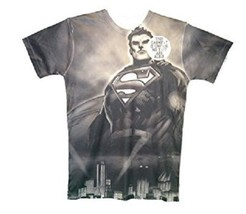 DC COMICS SUPERMAN MENS XL ONE OF A KIND STYLE BLACK POLYESTER T-SHIRT NEW - $18.97