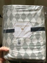 Pottery Barn Teen Harlequin Duvet Cover Set Gray Queen 2 Standard Sham D... - $166.00