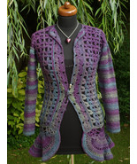 Woman crochet Jacket or cardigan in rustic streaked yarn, Boho style - $119.00