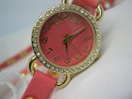 "L69, Ladies Pink Faced Watch, Crystal Surround, 23"" Pink Studded Wrap Band, wb - $19.79"