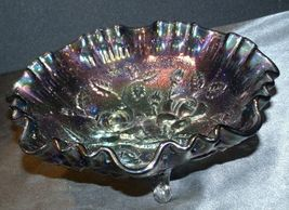 Imperial Hand Crafted Purple Carnival Glass 3 Footed Candy Dish Bowl AA19-CD0039 image 5