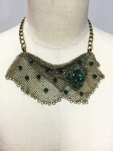 Brass Chainmaille Necklace with an Art Deco Czech Brooch - $250.00