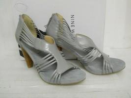 Nine West New Womens Sophias Medium Gray Leather Heels 9.5 M Shoes - $88.11